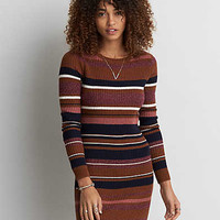 AEO Striped Crew Neck Sweater Dress, Multi