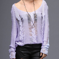 Distressed Lilac Open Shoulder Oversized Sweater