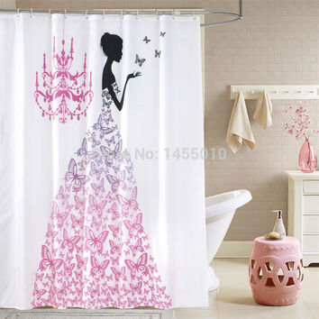 Polyester terylene PINK butterfly princess waterproof shower curtain thicken shower curtain bathroom curtain, 180 cm * 180 cm