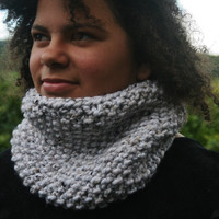 Hand Knit Neck Warmer- Women- Teen- Cowl- Ivory tweed- Rustic mega chunky with wool- women's accessories