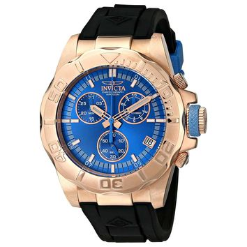 Invicta 12158 Men's Pro Diver Ocean Baron Blue Dial Black Strap Chronograph Watch
