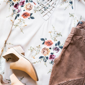 Crossfire Floral Blouse, Taupe