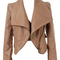 ROMWE | Lapel PU Light Khaki Biker Jacket, The Latest Street Fashion