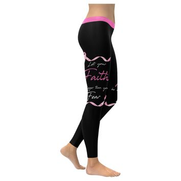 Let Your Faith Be Bigger Than Your Fear Breast Cancer Awareness Pink Ribbon Low Rise Leggings For Women (3 colors)