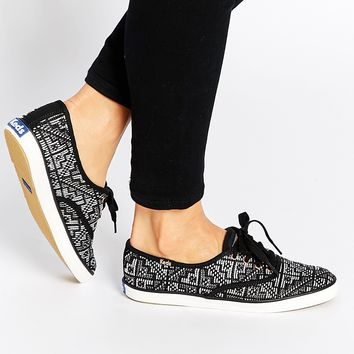 Keds Needlepoint Black Plimsoll Trainers