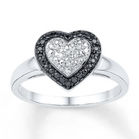 Heart Ring Diamond Accents Sterling Silver