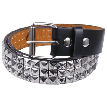 Black Splatter Silver Studded Leather Belt