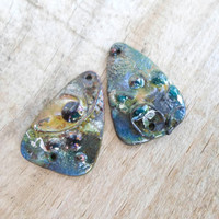 Enamel Copper Beads, Two Hole Enamel Dangle Beads, Artisan Glass Enameled Jewelry Supplies for Unique Handmade Jewelry