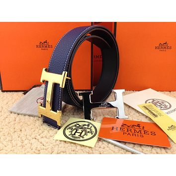 New Authentic Hermes men's belt 38mm blue Double Buckle 2H Gold&Silver 110cm