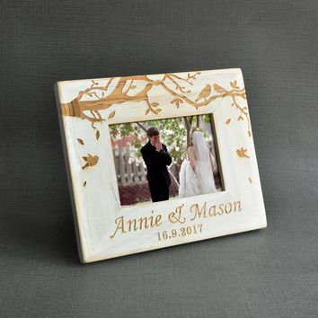 Vintage Wedding Photo frame, Custom Wooden Wedding Couple Pictures Frames, Personalized Rustic Wedding Gift, 5 inch photo