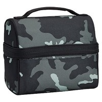 Gear-Up Black Camo Retro Lunch Bag