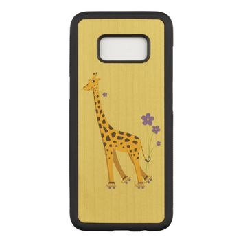 Yellow Funny Roller Skating Giraffe Carved Samsung Galaxy S8 Case