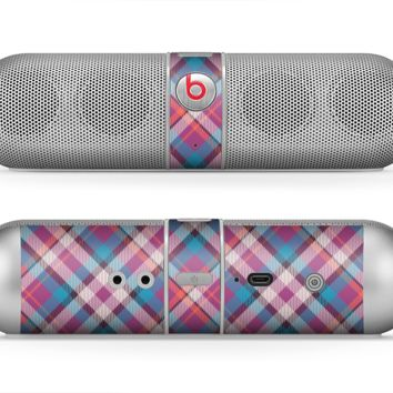 The Striped Vintage Pink & Blue Plaid Skin for the Beats by Dre Pill Bluetooth Speaker