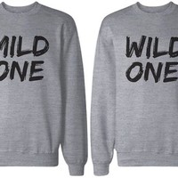 BFF Shirts - Mild One and Wild One Matching Grey Sweatshirts for Best Friends