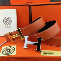 HERMES Men's belt H Logo Buckle Constance Reversible Orange Belt Leather 110cm*