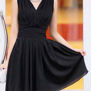 Black V-Neck Ruffled Sleeveless Dress