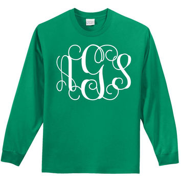 Monogrammed Initial Long Sleeve T-shirt