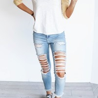 Different Mood Distressed Skinny Jeans