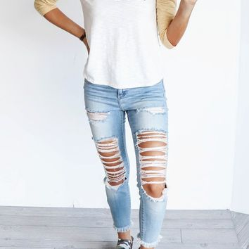 Different Mood Distressed Skinny Jean With Frayed Hem
