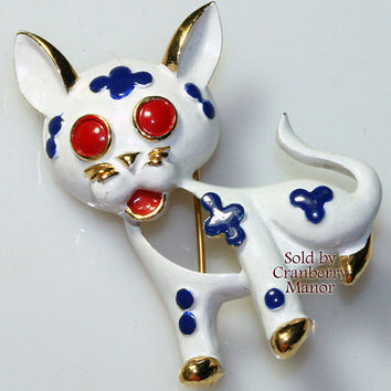 Crown Trifari Brooch, 1968 Precious Pet Pin, White & Blue Enameled Kitty Cat Figural, Vintage Fashion, Designer Signed, Costume Jewelry