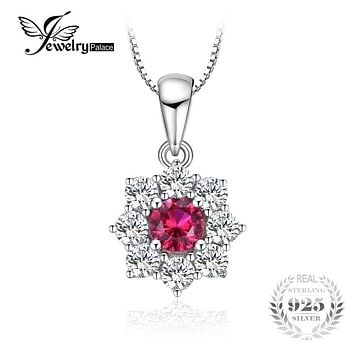 JewelryPalace Flower 0.8ct Created Ruby Halo Pendant Necklace Real 925 Sterling Silver Fine Women's Jewlery Not Include A Chain