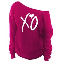 XO The Weeknd Clothing Off-The-Shoulder Oversized Wide Neck Slouchy Sweatshirt