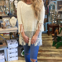 Fringe Bottom & Sleeve Sweater in Cream
