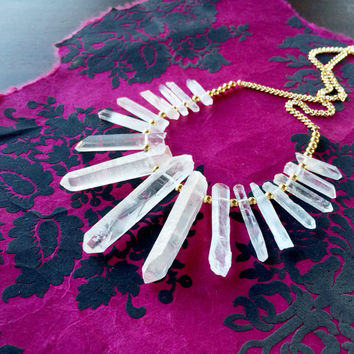 Raw Crystals Statement Necklace