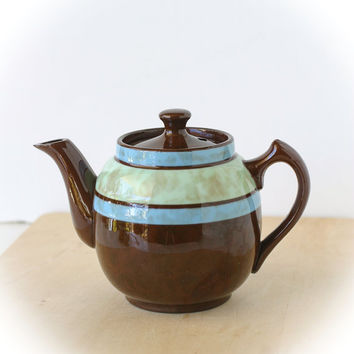 Vintage Sadler Staffordshire Teapot Brown Blue Green Single Serving