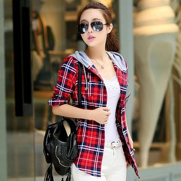 New Arrival 2017 Autumn Cotton Long Sleeve Red Checked Plaid Shirt Women Hoodie Casual Fit Blouse Plus Size Sweatshirt