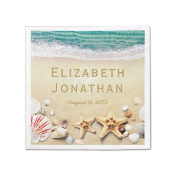 Vintage Tropical Beach Starfish Shells Wedding Napkin
