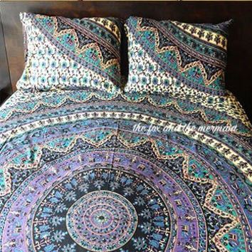 Mandala tapestry bed sheet & matching pillowcases, roundie mandala sheet set, indian mandala tapestry sheet pillowcases, boho bedding