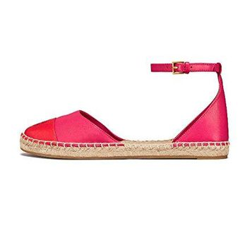 Tory Burch Color-Block Leather Ankle-Strap Espadrille, Bright Azalea/Exotic Red