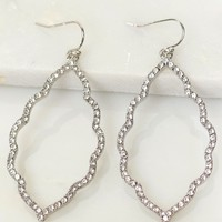 Drop Crystal Earrings Silver