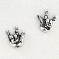 Sterling Silver Rock 'n' Roll Hands Post Earrings