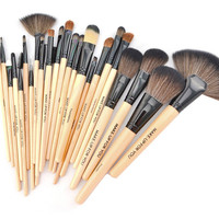 8892 With Good Gifts authentic Professional 24 Pcs Brand Cosmetics Makeup Brushes Make up Tool Brushes Set Black+Pink+Wood color