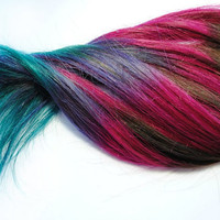 Brunette Lauren Conrad Inspired - Human Hair Extensions - Dip Dyed Tips / Tie Dyed Clip Ins // Brown Pink Purple Blue / Ombre Rainbow