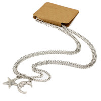 Silver Moon and Star Pendant Necklace