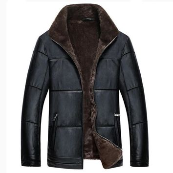Plus Size 8XL Mens Fur Lined Leather Jacket and Coats European Big and Tall Mens Winter Fur Coats China Branding Clothes C1134