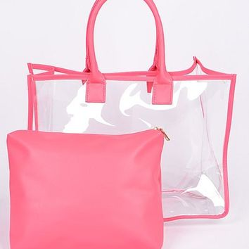 Fall Back To School Clear Day to Day Bag Pink