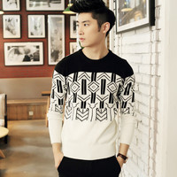 Mens Trendy Patterned Pullover Sweater