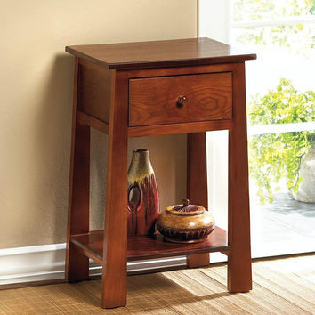 Classic Modern Contemporary Craftsman Flare Leg Wood Side Table w/ Drawer - Warm Brown