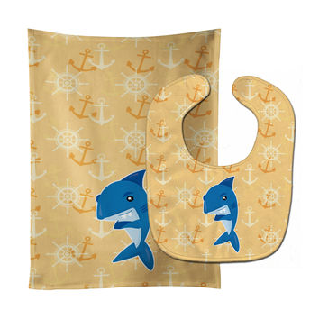 Shark on Beige Nautical Baby Bib & Burp Cloth BB6946STBU