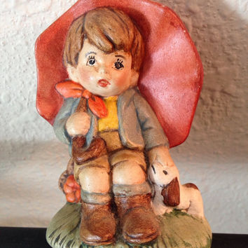 Vintage Figurine Boy Under Orange Umbrella with Puppy