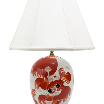 Beautiful Vintage Style Orange Foo Dog Porcelain Lamp with Shade and Finial