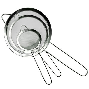 Evelots® Stainless Steel Fine Tea Mesh Strainers W/ Handle, Kitchen Food,Set Of 3