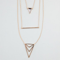 Full Tilt 3 Row Triangle/Bar Necklace Metal One Size For Women 24355919101