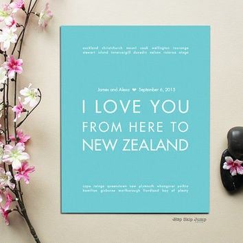 New Zealand Poster, Wedding Gift, Travel Poster, Travel Wedding, I Love You From Here to New Zealand - Shown in Robins Egg Blue