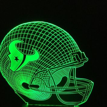 3D Night Light Houston Texans Football Cap Team Logo Helmet Changeable 7 Colors Home Decor Football Fans Xmas Gifts Lamparas