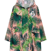 Hooded Coat in Banana Leaf Print